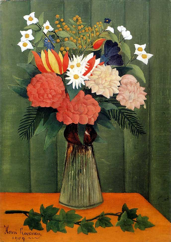 Henri Rousseau - Bouquet de flores y rama de hiedra, 1909