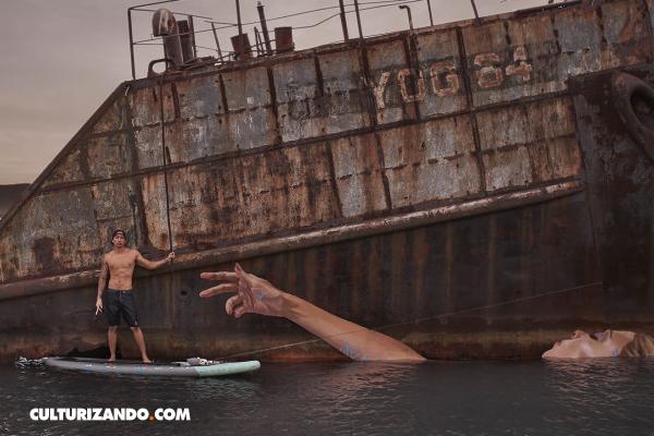 El artista que pinta increíbles murales desde su tabla de surf (+ Fotos)