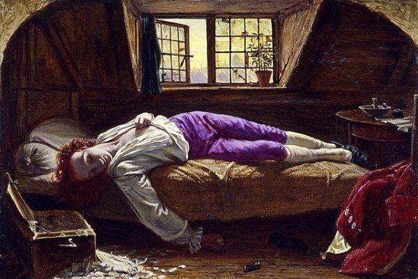 'La muerte de Chatterton', una pintura que muestra el sufrimiento de un poeta abandonado