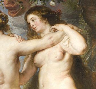 Detalle de 'Las tres Gracias', de Pedro Pablo Rubens – Foto: Wikimedia Commons.-