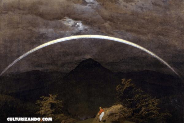 'Arco iris en un paisaje de montañas', escena paisajista llena de símbolos religiosos