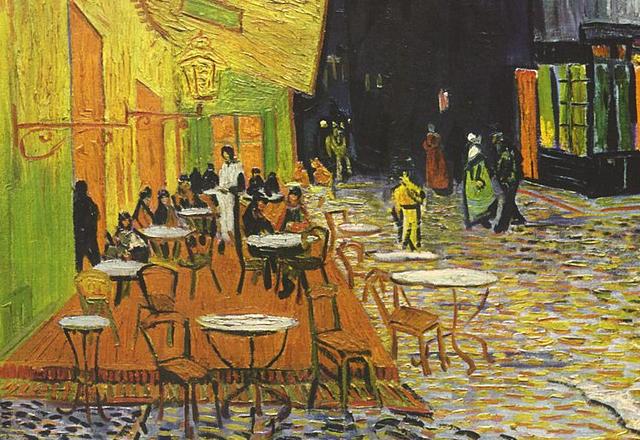 Terraza del café por la noche