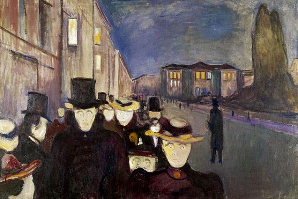 'Anochecer en la Calle Karl Johan', el desasosiego nocturno de Edvard Munch