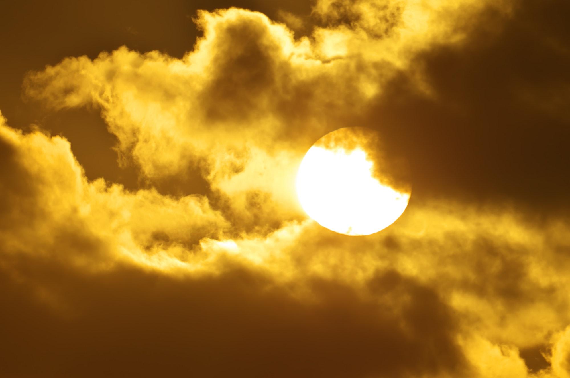 Big sun on sundown.