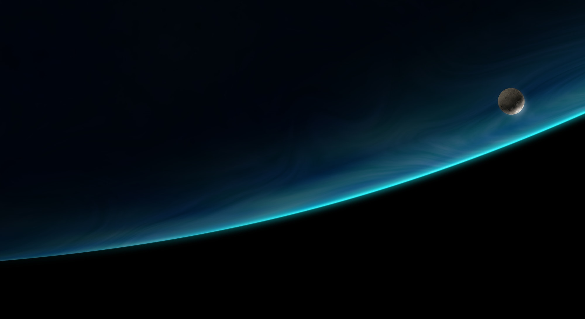 moon orbiting the blue planet, 3d illustration